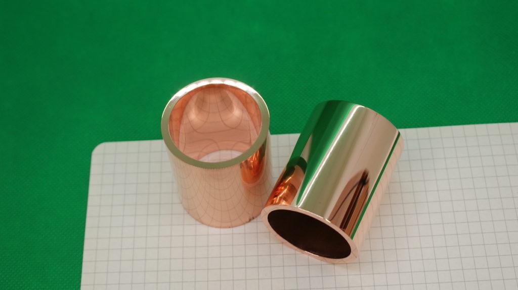 研磨加工製品例「純銅 ロール内外径鏡面加工」